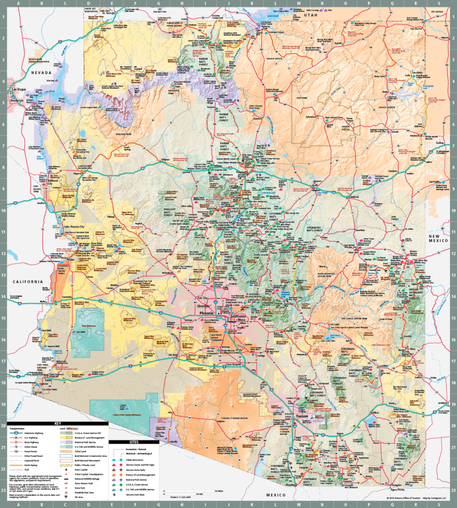 Arizona state map of natural and cultural recreation sites