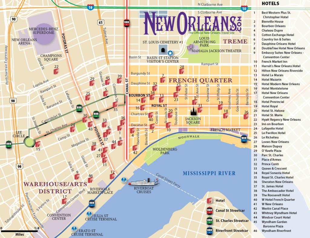 Custom hotel map of New Orleans, Louisiana