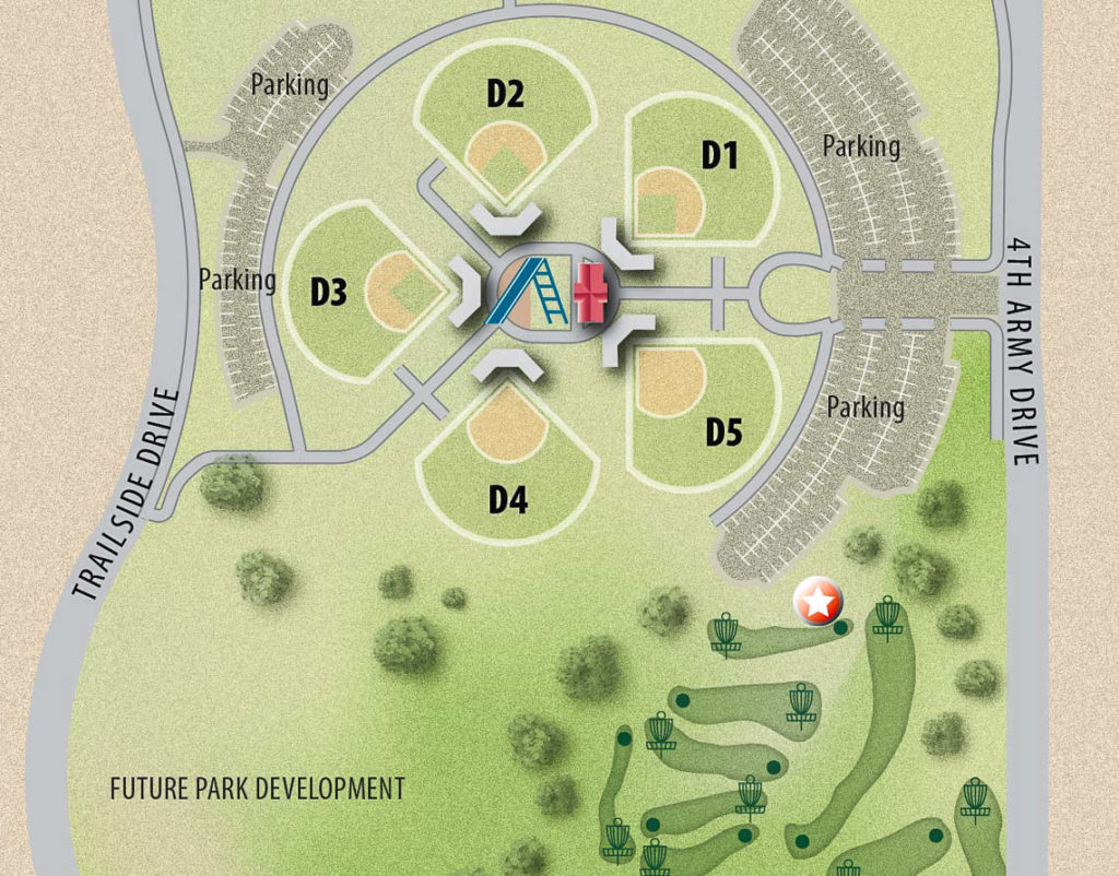 B.F. Phillips detail showing baseball diamonds, parking, and disc golf course