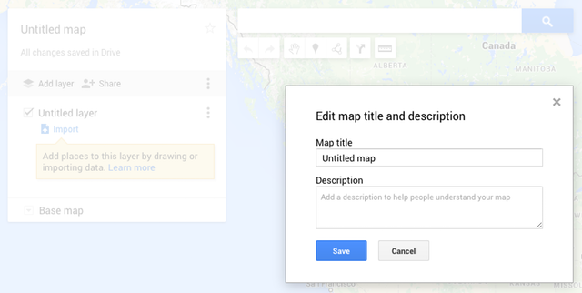 Dialog box to edit map title