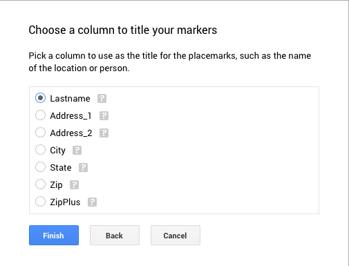 Choose column for marker title