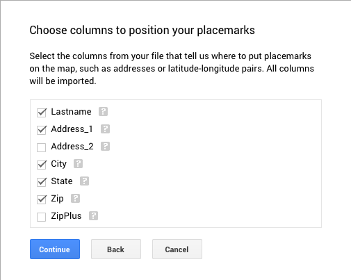Dialog box for choosing Excel columns for placing markers on map