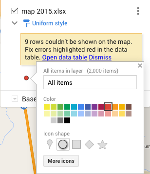 The edit colors and shape dialog box