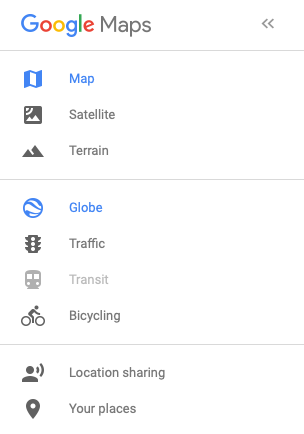 Google Maps menu of options