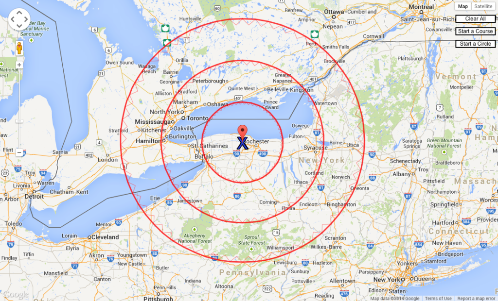 Google Maps image with radius rings on map