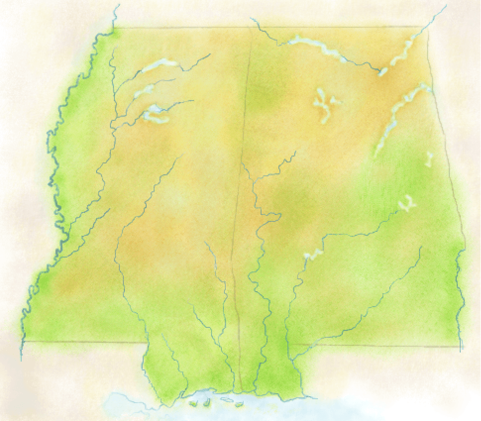 Mississippi and Alabama painted in a watercolor style for a map background