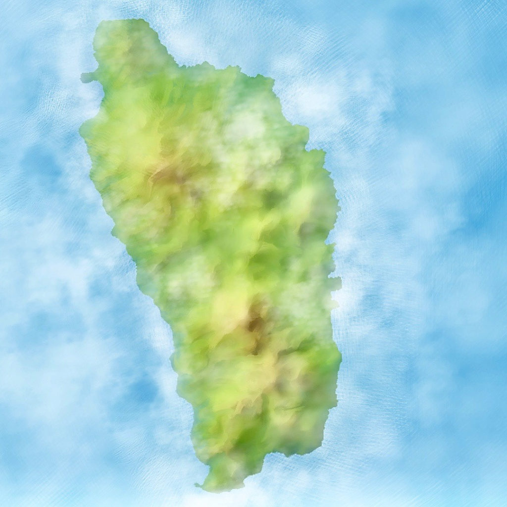 Dominica terrain image painted in Corel Painter