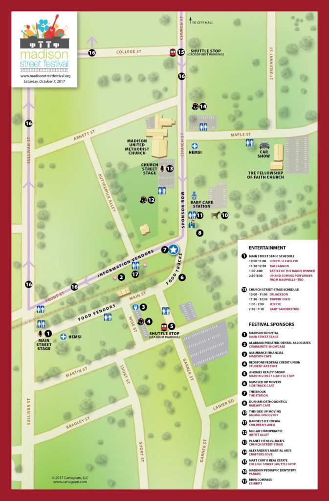 Madison, Alabama Street Festival map