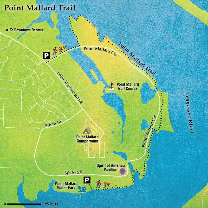 Artistic map of Point Mallard Trail in Decatur, Alabama