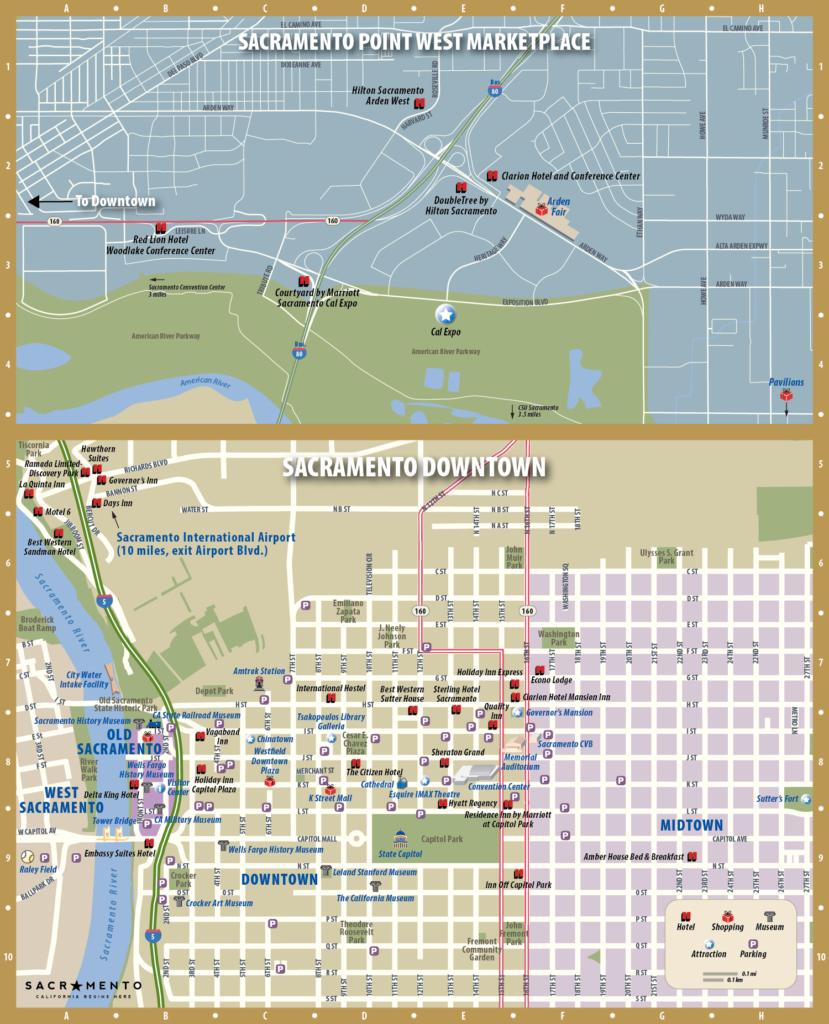 Sacramento CVB map for a printed Visitor Guide