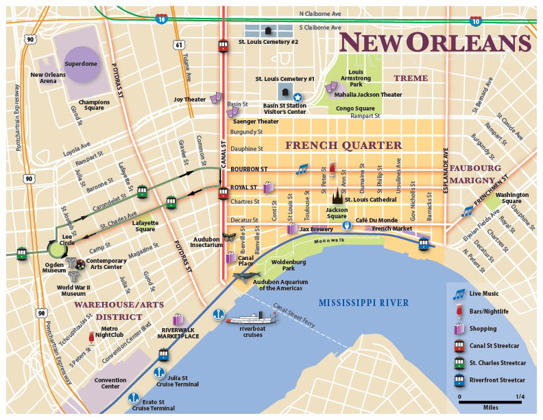 Tourism map of New Orleans