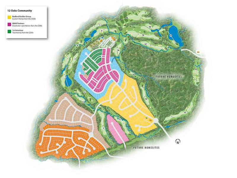 Twelve Oaks Golf Community map
