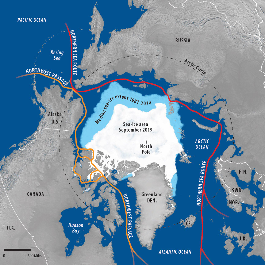 Arctic sea-ice map with terrain image and painted ice for USCC report