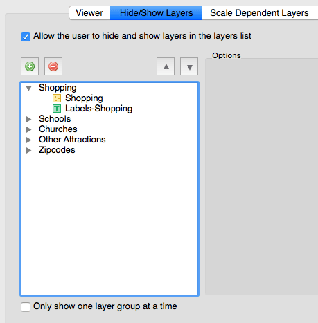 MAPublisher Web Author Hide/Show Layers dialog box