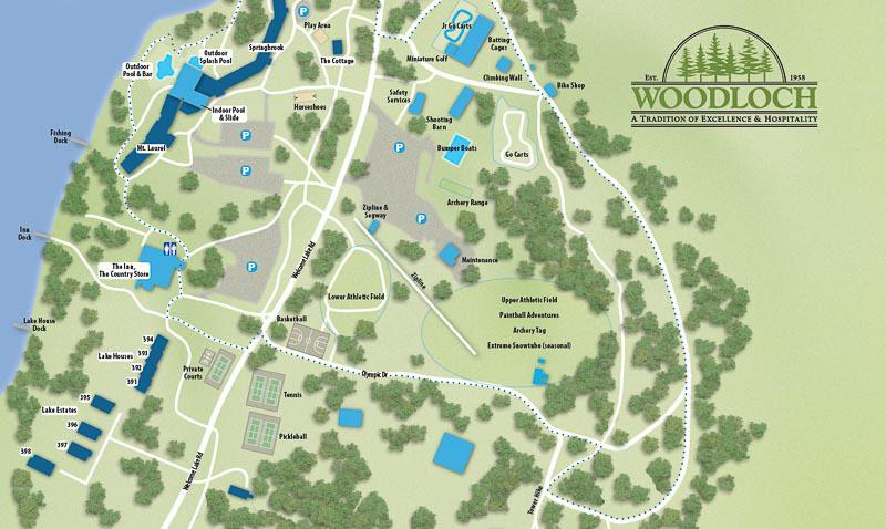 Woodloch Pines map