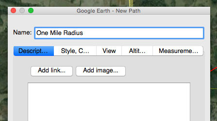 Google Earth's New Path dialog box