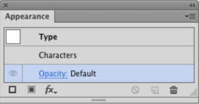 Adobe Illustrator's Appearance dialog box with white fill chosen for type