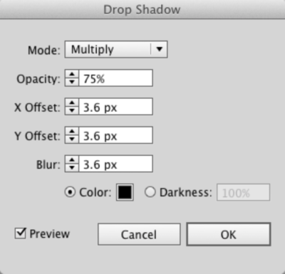 Adobe Illustrator's Drop Shadow dialog box