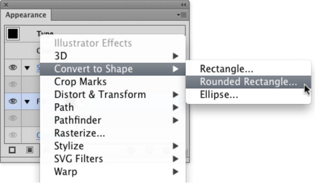 Adobe Illustrator's menus for converting a shape to a rounded rectangle