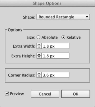 Adobe Illustrator's text box shape dialog box