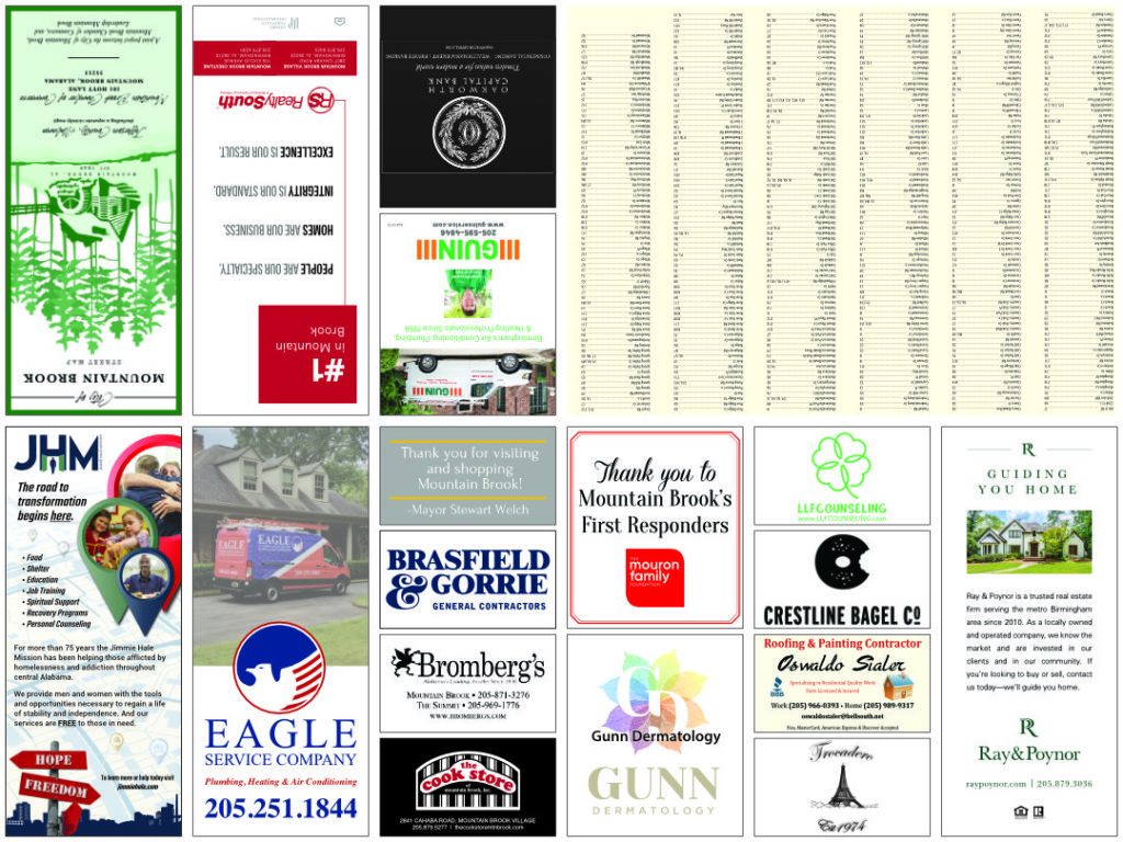 Ad side of the Mountain Brook, Alabama Chamber of Commerce map.
